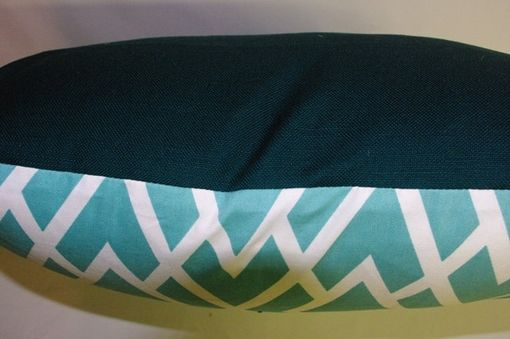 Custom Made Duralee Teal And White Pillow Cover With Dark Turqoise Linen Back