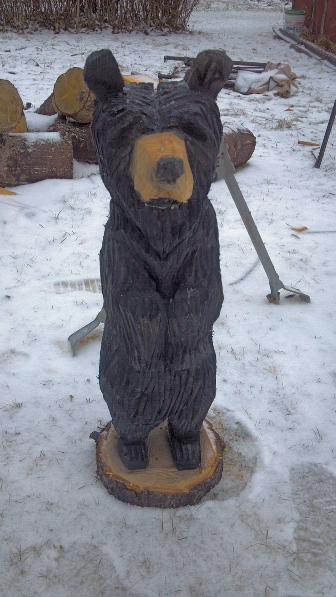 Handmade Chainsaw Carved Standing Black Bear By Parrish