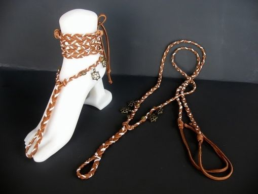 Custom Made Tan Deerskin Hand Braided Barefoot Sandals. Slave Anklets. Boho Chic. Turtle Charms. Dancer Jewelry.