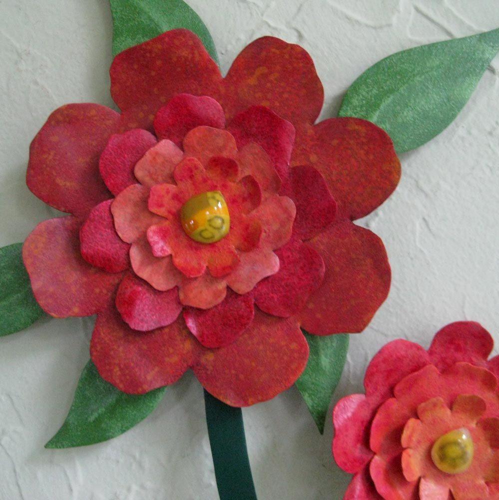 Custom Made Flower Wall Art Sculpture Large Metal Camellia Vase Reclaimed Kitchen Decor Orange Red