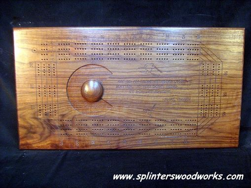 Custom Made Large Custom Four Person Dark Walnut Cribbage Board
