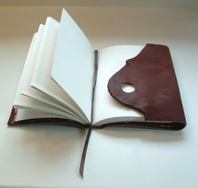 Custom Made Coffee Journal, Leather, With Original Ceramic Coffee-Bean Button Closure, With Embossing Option.