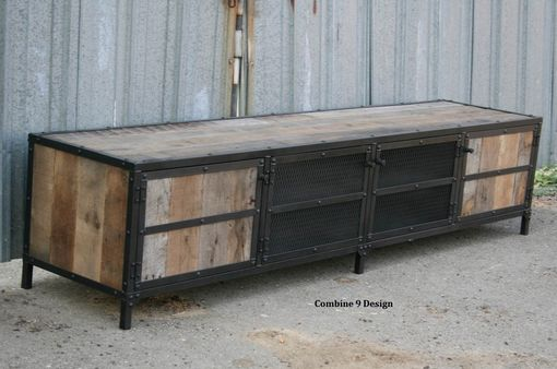 Buy A Hand Made Rustic Industrial Media Console Tv Stand