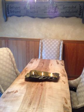 Custom Made Live Edge Ambrosia Maple & Steel Dining Table
