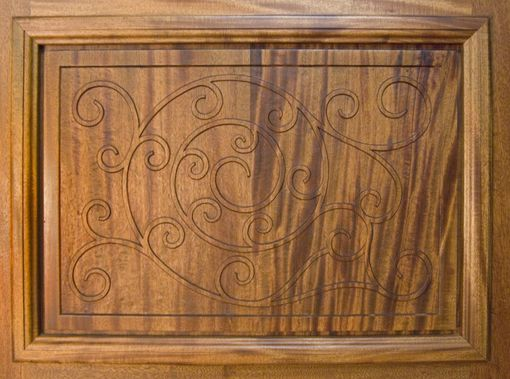 "Custom Made Door - Mahogany - Hand Carved ""Wrought Iron"" Design"