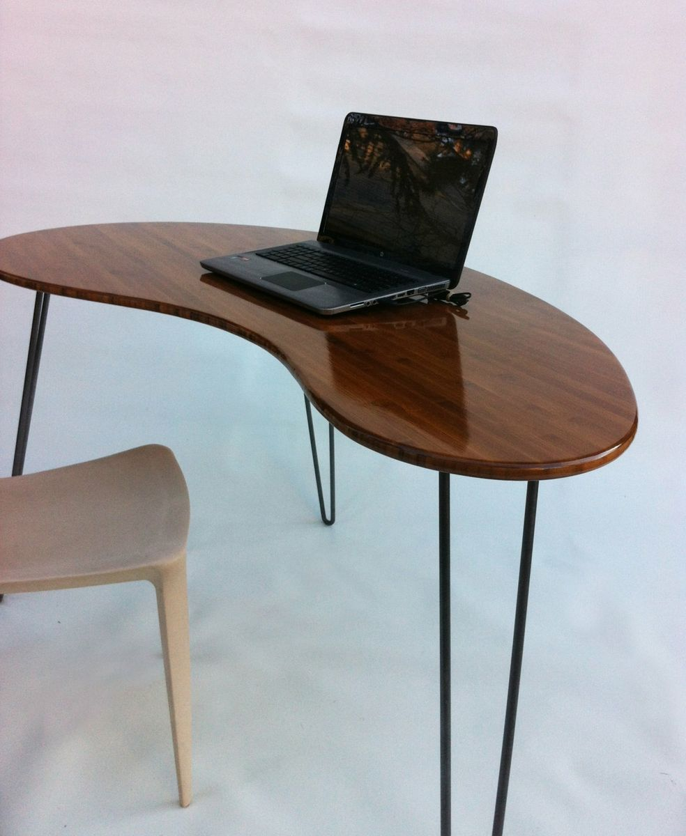 custom standing desk kidney shaped mid. buy a custom made kidney bean shaped modern desk atomic era boomerang design in caramelized bamboo to order from studio1212 custommadecom standing mid n