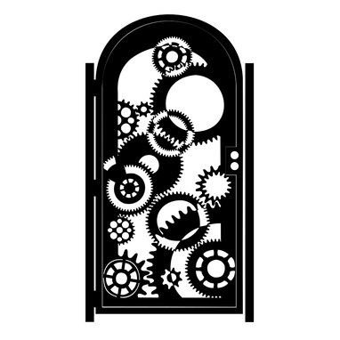 Custom Made Custom Steel Gate - Clockwork Design - Decorative Wall Panel - Handmade - Garden Gate