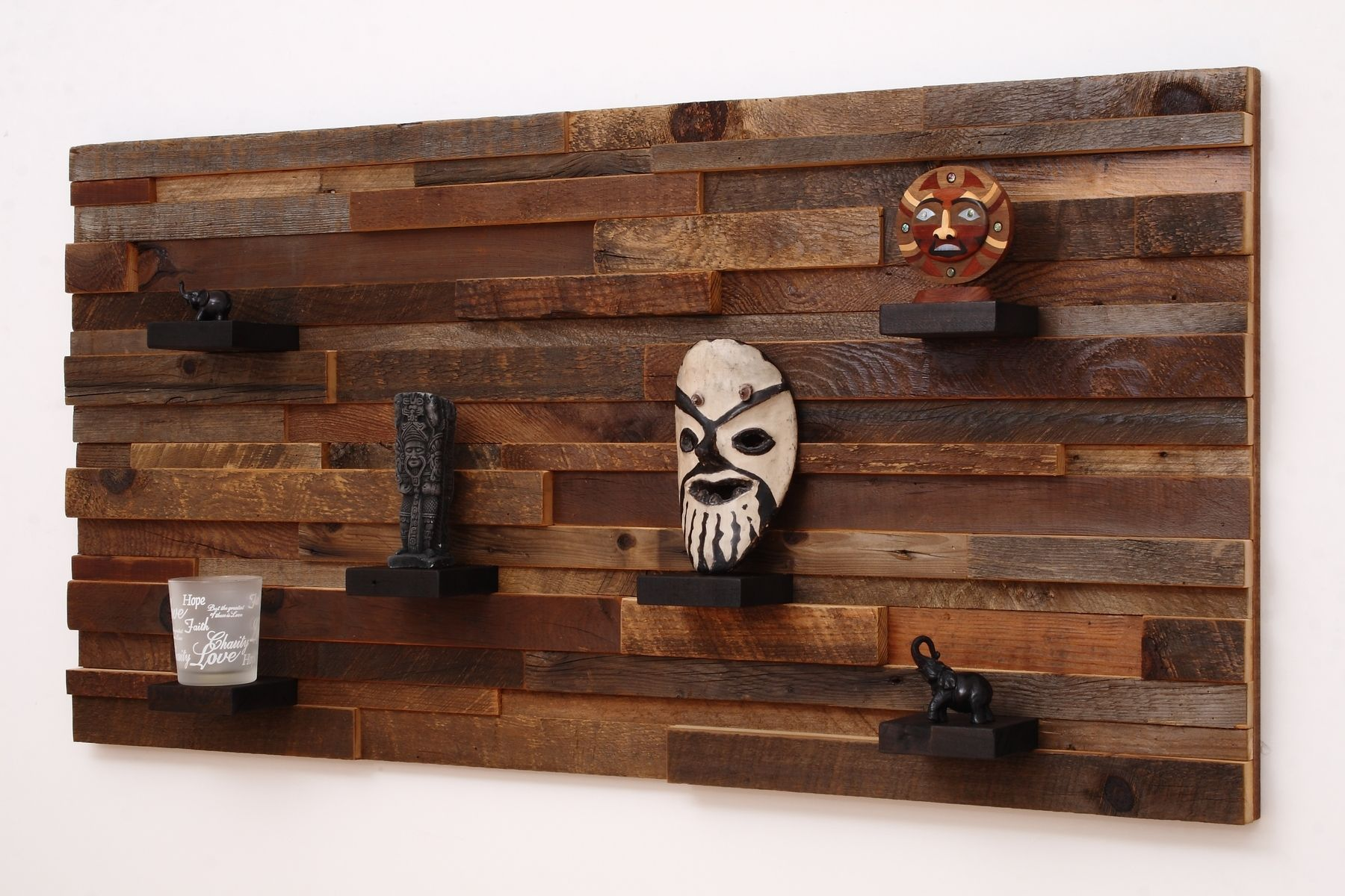 Custom wood wall art with wood shelves 48 x24 x5 made of for Barnwood decor