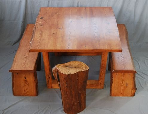 Custom Made Live Edge Oak Dining Set - Table, Benches And End Table