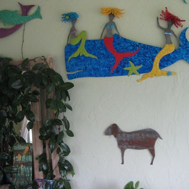 Custom Made Metal Folk Art Goat Farm Animal Home Decor Reclaimed Metal Wall Sculpture Barnyard