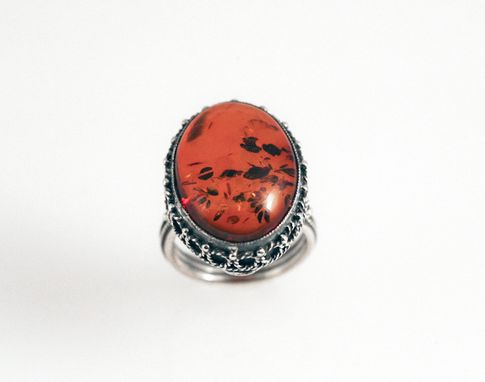 Custom Made Amber Butterfly Ring - In Recycled Silver