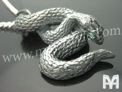 Custom Made Sterling Silver Black Snake With Emerald Eyes Pendant