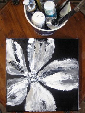 Custom Made Poppy Painting -Original Black And White Abstract