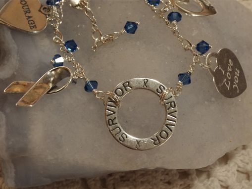 Custom Made Survivor Awareness Charm Bracelet - Sterling Silver, Swarovski Crystal, Believe, Courage, Love