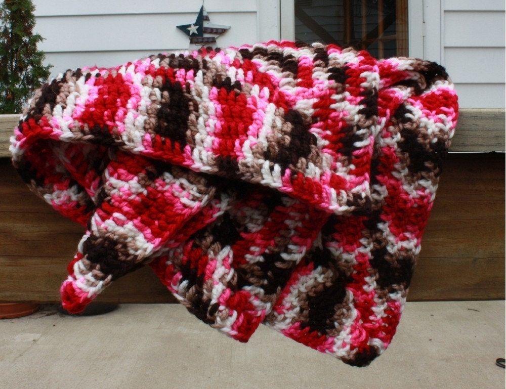 e619e5195958e Hand Crafted Crochet Baby Blanket - Pink Brown Handmade Granny ...