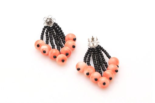 Custom Made Black Onyx, Coral & Diamond Tassel Earrings