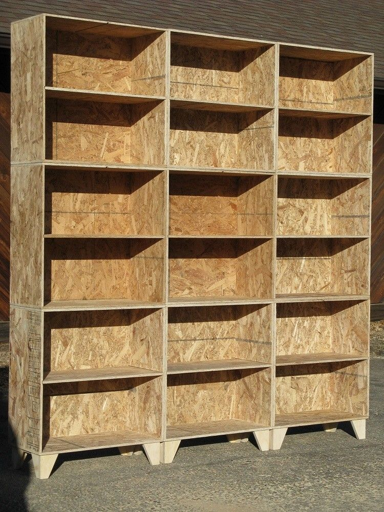 Handmade Natural Osb Unfinished Modular Bookcases Large By