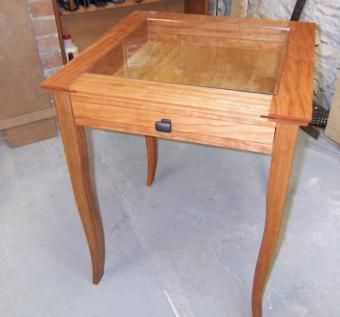 Hand Made Serpentine Shadow Box Table By Newton Fine Woodworking - Shadow box side table