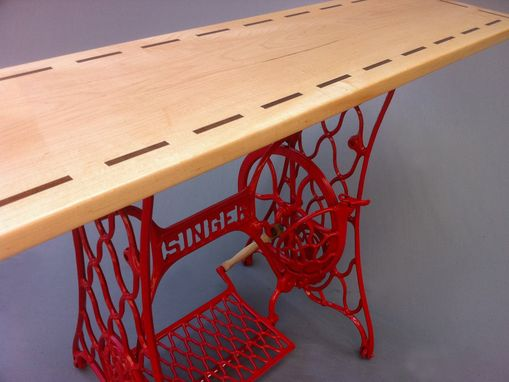 Custom Made Modern Console Table/Red Vintage Singer Sewing Machine Base - Hall Entry Table