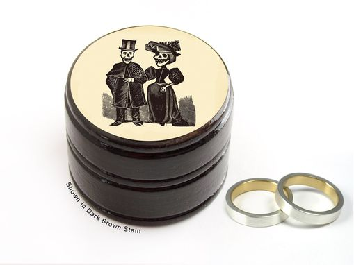 Custom Made Day Of The Dead Bride And Groom Pill Box, Cufflinks Box - Wedding Rings Box