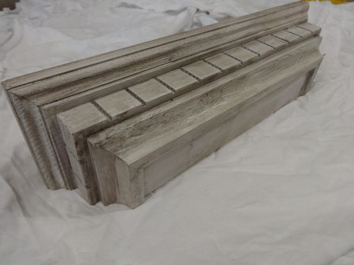 Custom Made Distressed Floating Wall Shelf In Aged White