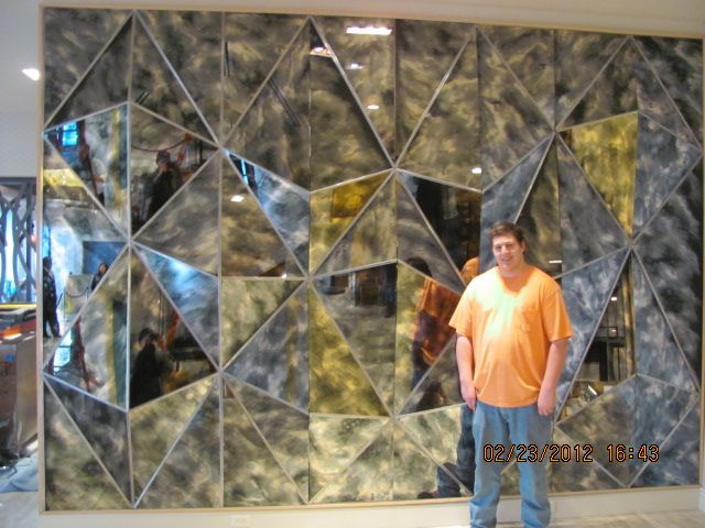 Custom Commercial Abstract Mirror Glass Pyramid Wall Art by TNT Art ...