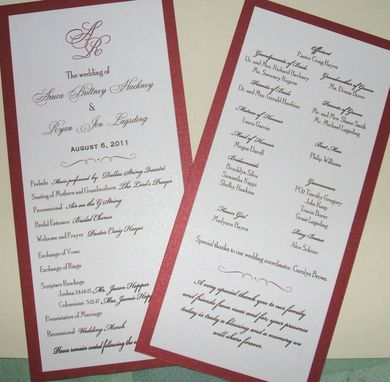 Custom Made Custom Personalized Wedding Menus- Double Matted With Ribbon Accent- Qty 100