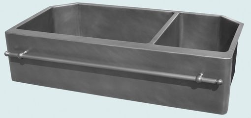 Custom Made Zinc Sink With Angled Corners & Towel Bar