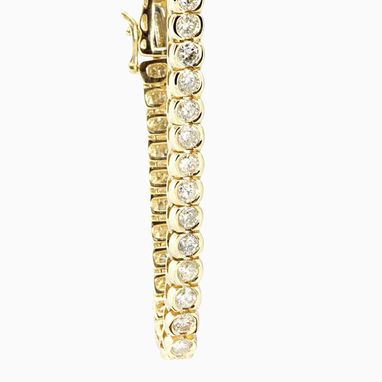 Custom Made Diamond Tennis Bracelet, Bezel Set Diamond Bracelet, 14k Yellow Bracelet
