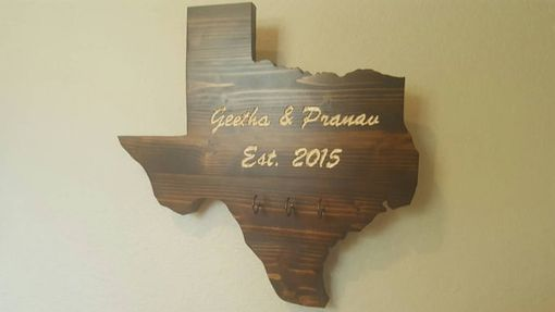 Custom Made Custom Engraved Stained Pine Wood Texas Sign With Key Hooks