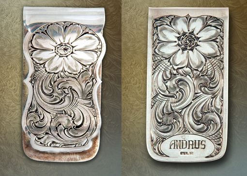 Custom Made Sterling Silver Money Clip, Hand-Engraved