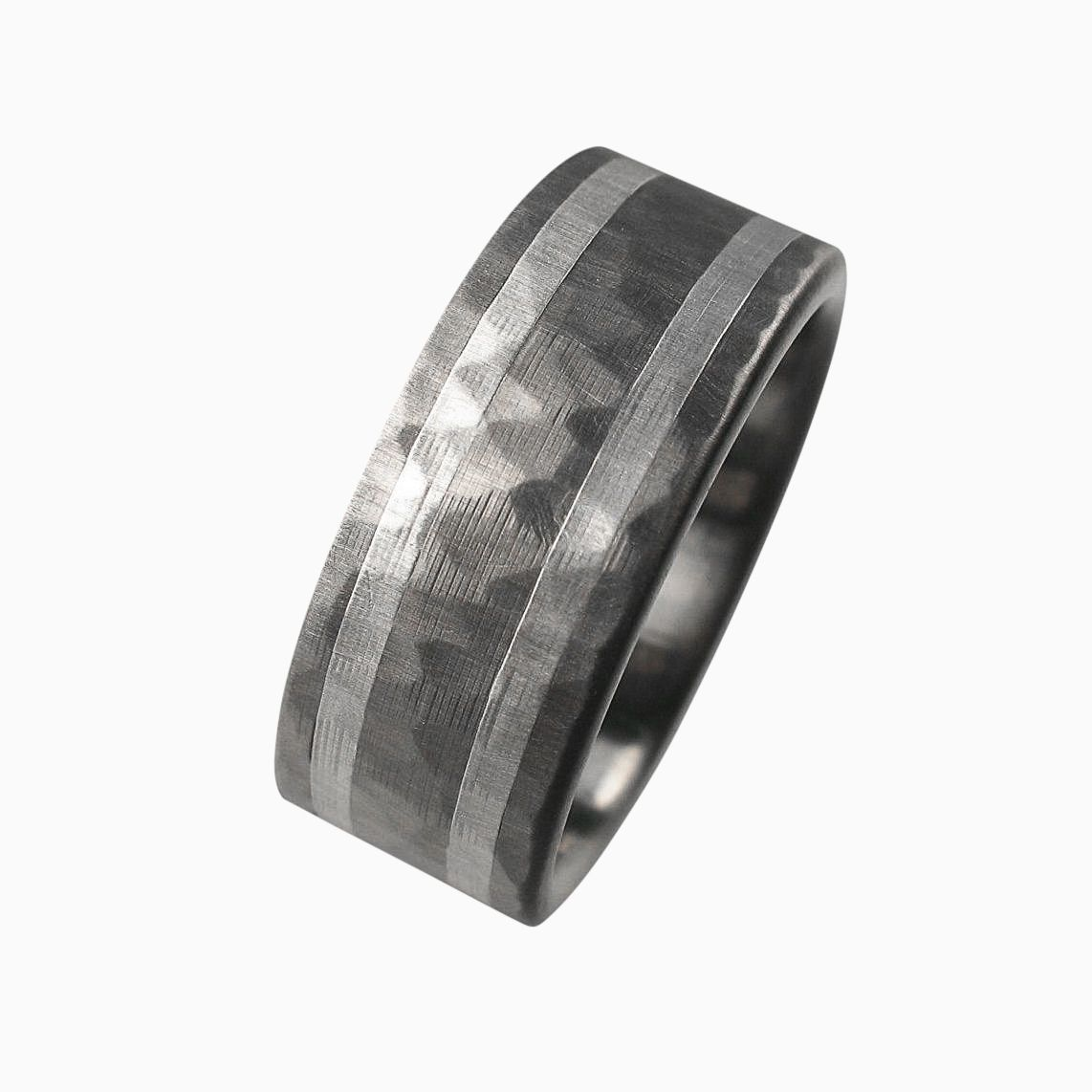 carbon and bands meteorite fiber unique mens men titanium with gibeon ring blue s