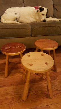 Custom Made Child Round Maple Stool With Turned Legs