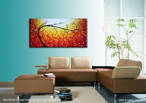 Custom Made Original Tree Painting, Large Modern Art, Abstract Contemporary Art, Floral Art, Red Yellow Trees