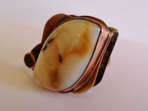 Custom Made Brass Unisex Ring With Agate And Onyx Stones