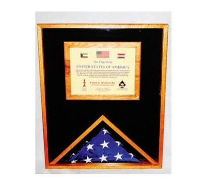 Custom Made Military Memorial Flag Medal And Certificate Display Case