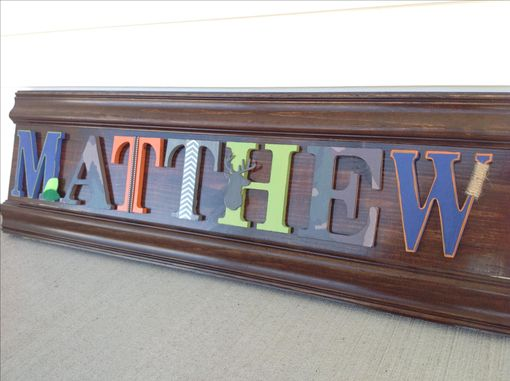 Custom Made Boys Room, Custom Wood Letter Name Sign,Wall Art, Children's Decor Board