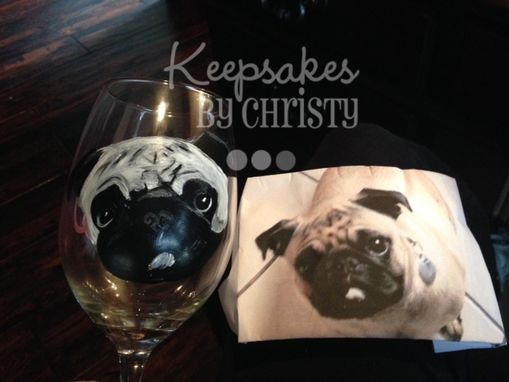 Custom Made Custom Hand Painted Wine Glass - Dog Portrait