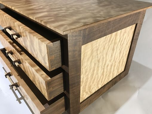 Custom Made Quilted Maple And Claro Walnut Chest Of Drawers