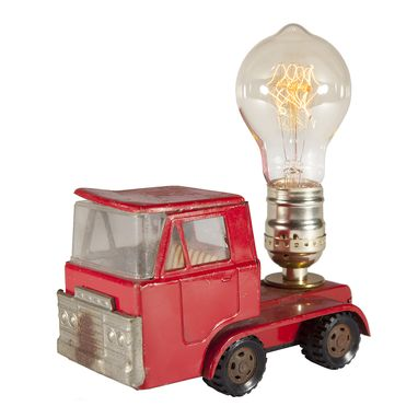 Custom Made Vintage Red Truck Cab Mini Lamp With Filament Bulb