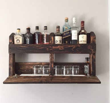 Custom Made Reclaimed Pallet Wood Wall Mount Bar