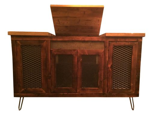 Custom Made Reclaimed Pine Wood Stereo Console Unit With Hairpin Legs