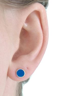 Custom Made Stud Post Earrings In Cobalt Blue Made With 100% Recycled Sterling Silver