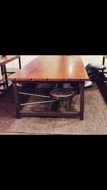 Custom Made Custom 6 Stool Iron And Pine Conference Table Desk With 6 Leather Swivel Swing Out Stools