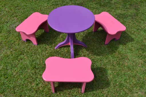 Custom Made Children's Maloof Inspired Table And Stool Set