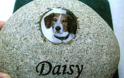 Custom Made Natural Rock Pet Memorial Desk Size With Easel