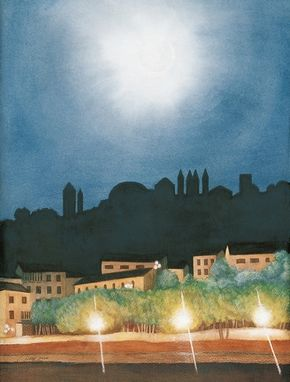 Custom Made Moonlit Florence (Italian Nocturne) - Fine Art Note Card Set Of Five (5.5