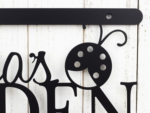 Custom Made Personalized Garden Metal Name Sign, Ladybug - Matte Black Shown