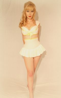 Custom Made Custom Couture 40s Style Playsuit Swimsuit Two Piece With Ruffle Skirt Any Size And Colors