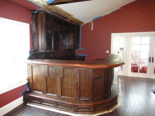Custom Made Solid Oak Entertainment Room With Wet Bar